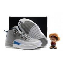 Air Jordan 12 Gray/White/Blue For Kid