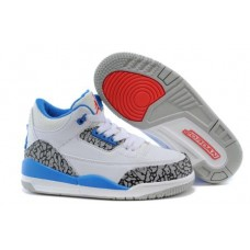 Air Jordan 3 White Black Blue For Kids