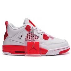 Air Jordan 4 Couples For Women White/Red