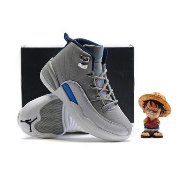 64e52056fe8ae2 Air Jordan 12 Gray White Blue For Kid
